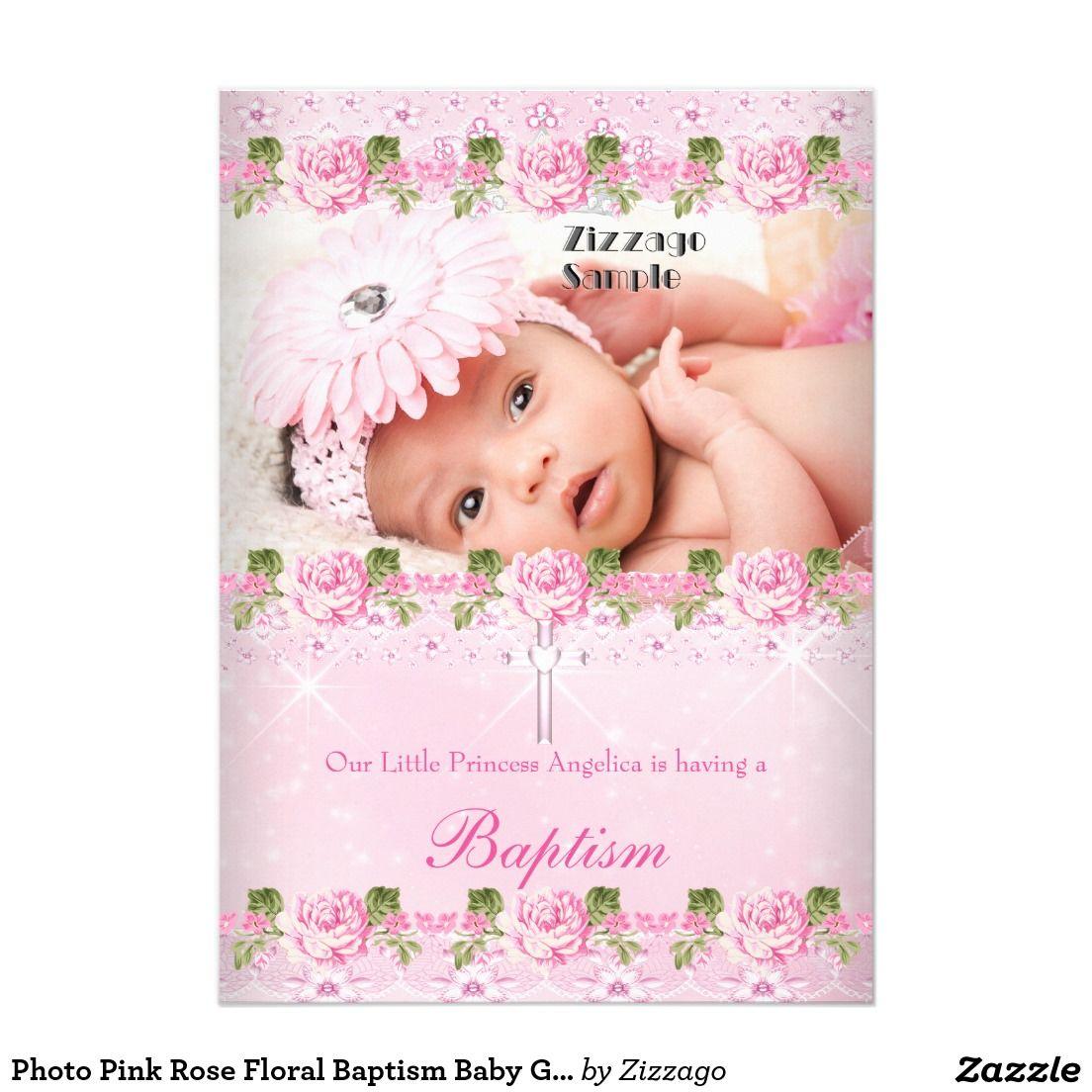 Photo Pink Rose Floral Baptism Baby Girl Invitation Zazzle
