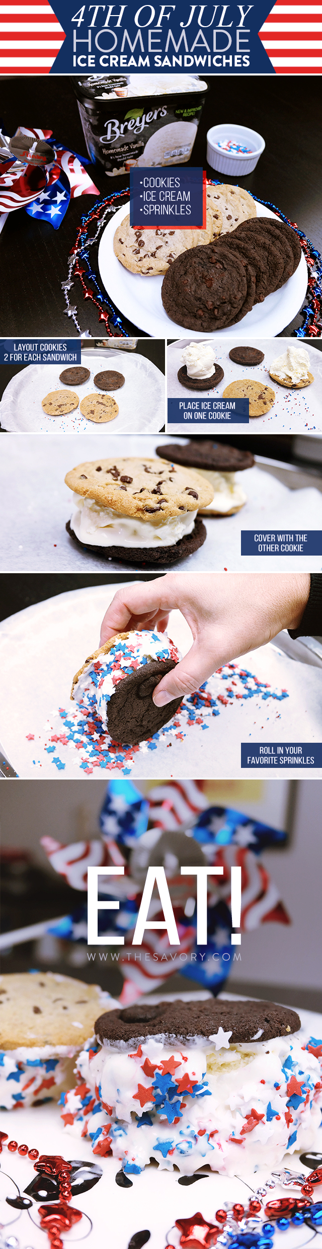 4th of July Homemade Ice Cream Sandwiches: Savory Snacks | The Savory