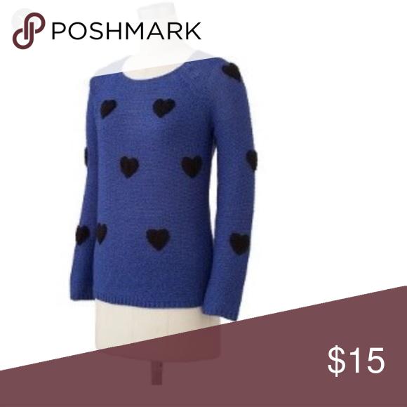 Lauren Conrad heart sweater | Heart sweater, Black heart and Blue ...