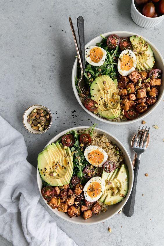 Quinoa Bowls with Sesame Tofu, Avocado, and Pistachios, Quinoa Bowls with Sesame Tofu, Avocado, an