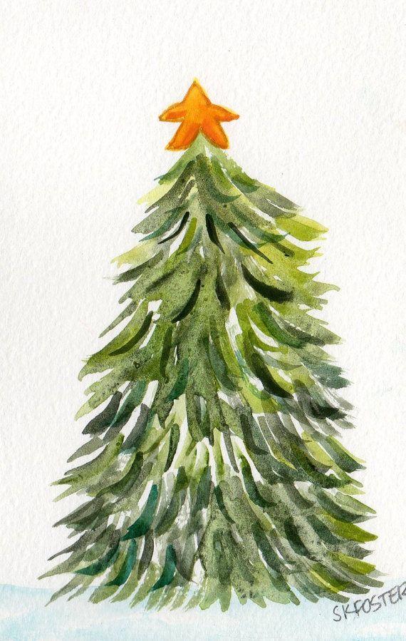 Christmas Tree Watercolors Paintings Original Holiday Christmas