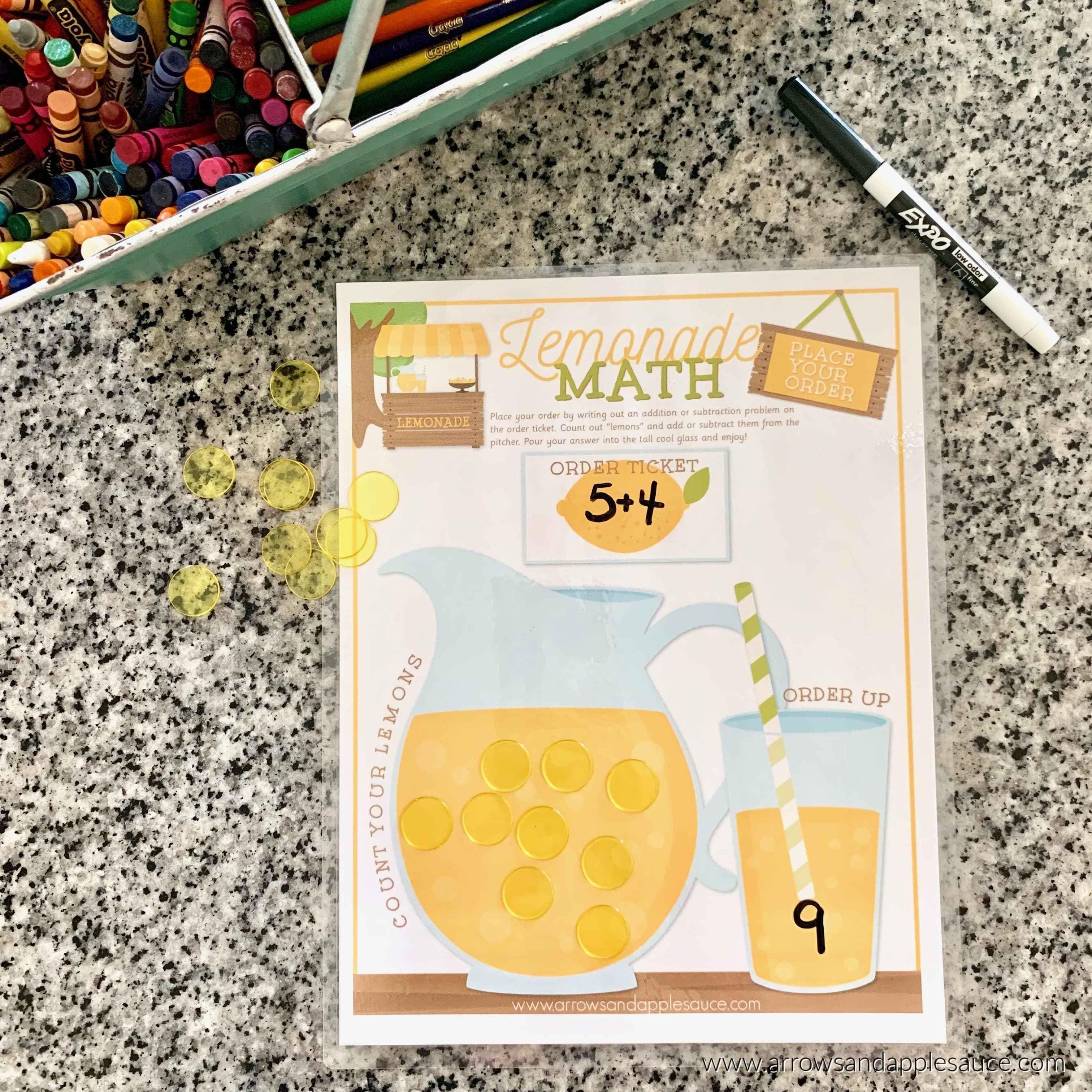 Pretend Play Lemonade Math Game