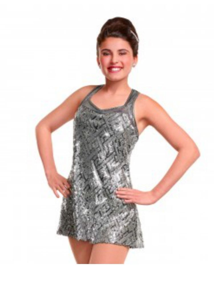 Girl Curtain Call C6 E1254 Fusion Silver Sequin Dress Dance