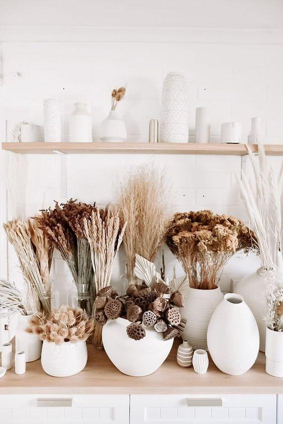 Dry flowers in white vases