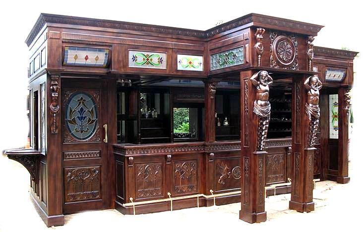 25Ft Solid Mahogany Carved Canopy Home Pub Bar w/ Rails