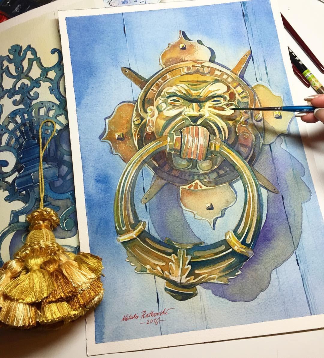 Artist natalie ratkovski door knocker in florence watercolor on