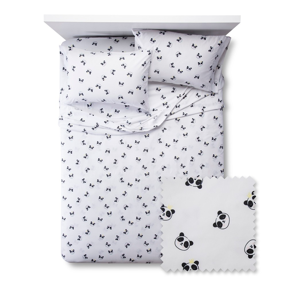 Pandas Sheet Set - Full - 4 pc - Black&White - Pillowfort, Black White Pink Yellow