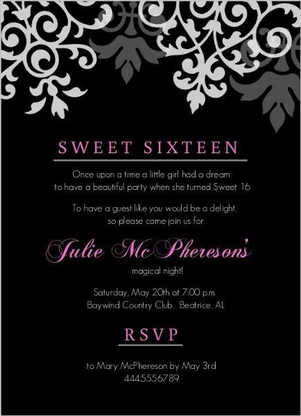 Black And Pink Flourish Sweet 16 Birthday Invitations