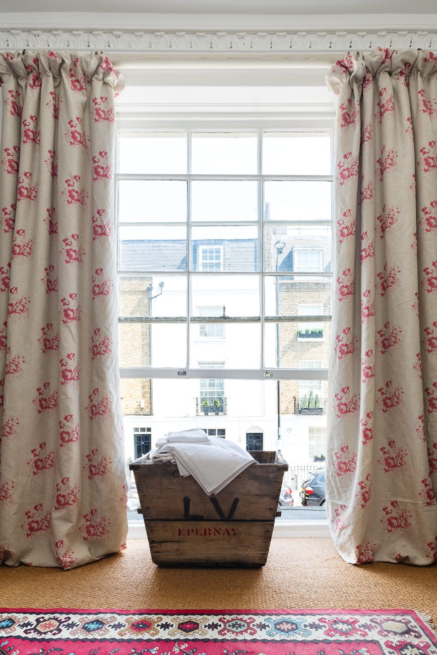 Cabbages Amp Roses Natural Hatley Raspberry Curtains For