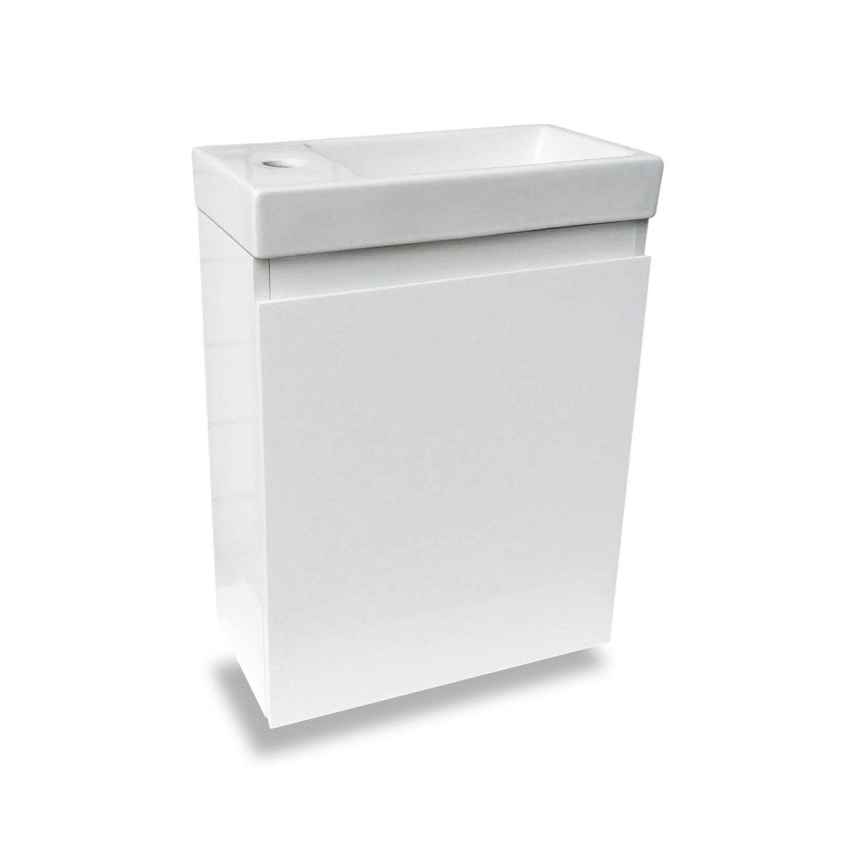 Meuble Lave Mains Sans Miroir Blanc L 40 X P 22 X H 48 Cm Nelys Meuble Lave Main Lave Main Lave Main Wc