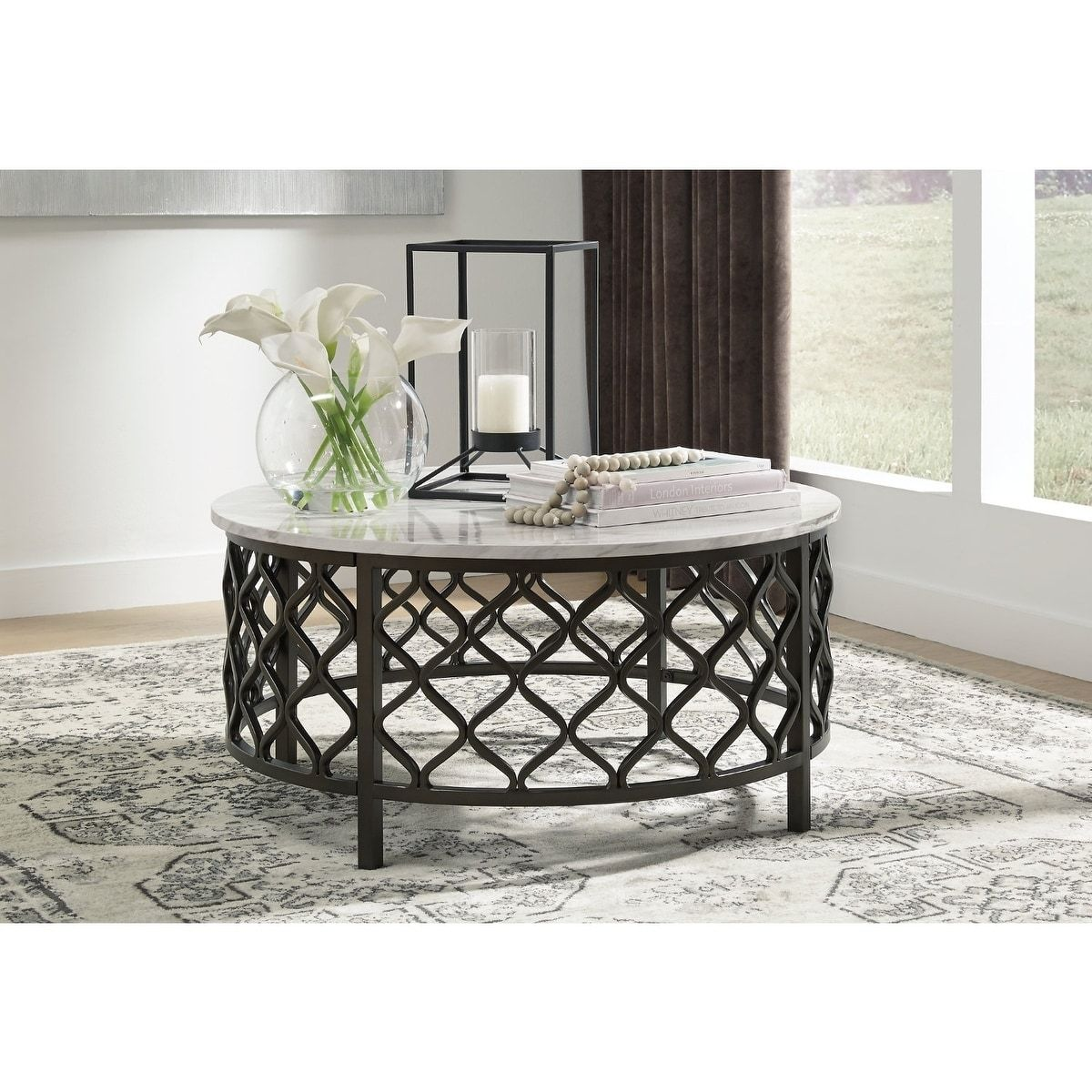 Trinson Faux Marble Round Cocktail Table Gray Signature Design By Ashley Round Coffee Table Simple Coffee Table Table