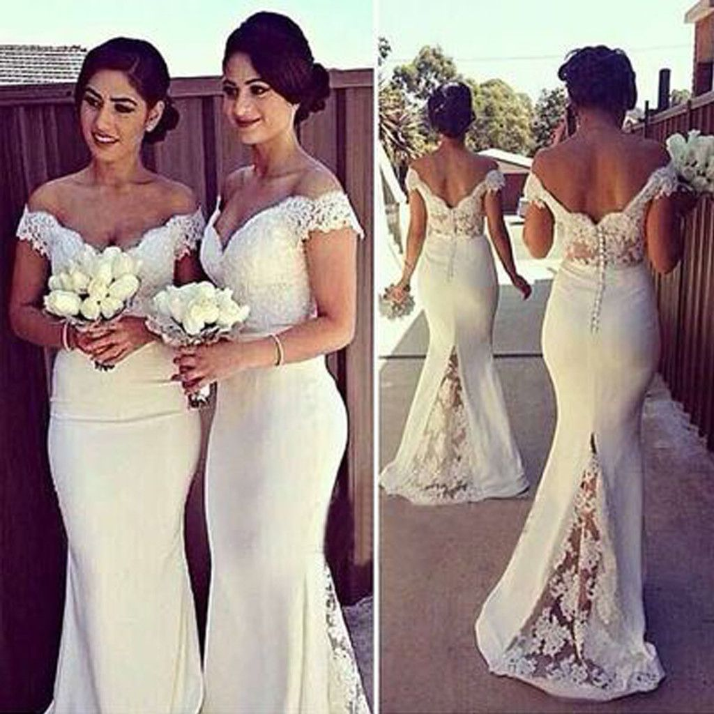 Charming white long cap sleeve lace mermaid sexy long bridesmaid
