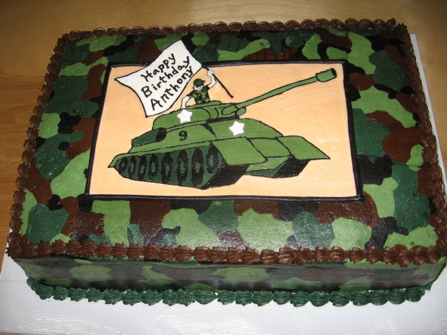 Camo cake for a 9 year old boy all buttercream tank is