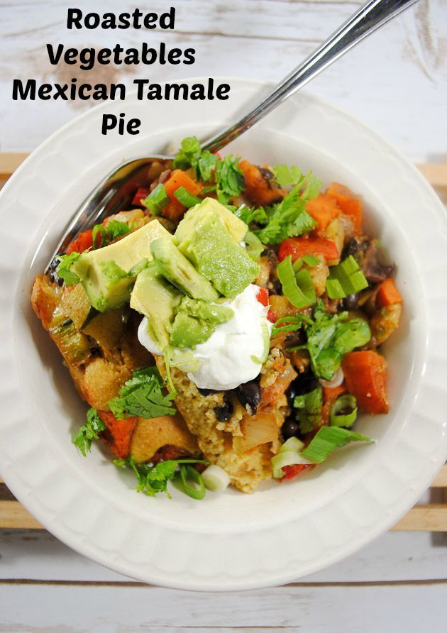 Meat-free Mexican Tamale Pie with Nutty Roasted Vegetables and Black Beans
