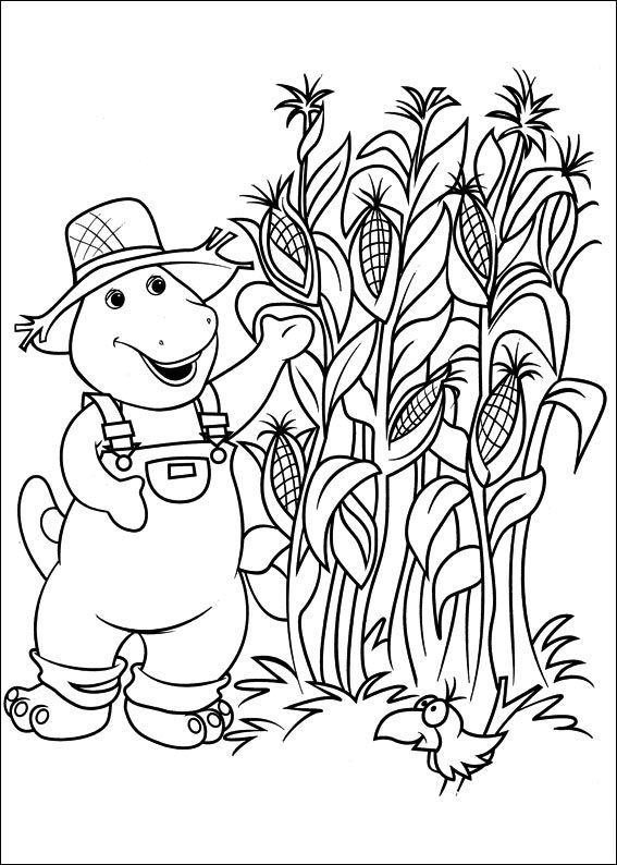 Barney In Cornfield Coloring Pictures Coloring Pages For Kids