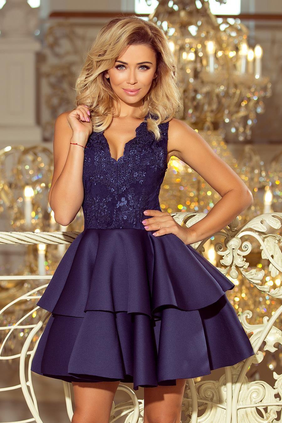63c713556d Szykowna Mini Sukienka z Koronkowym Dekoltem Granatowa NU207-2 in ...