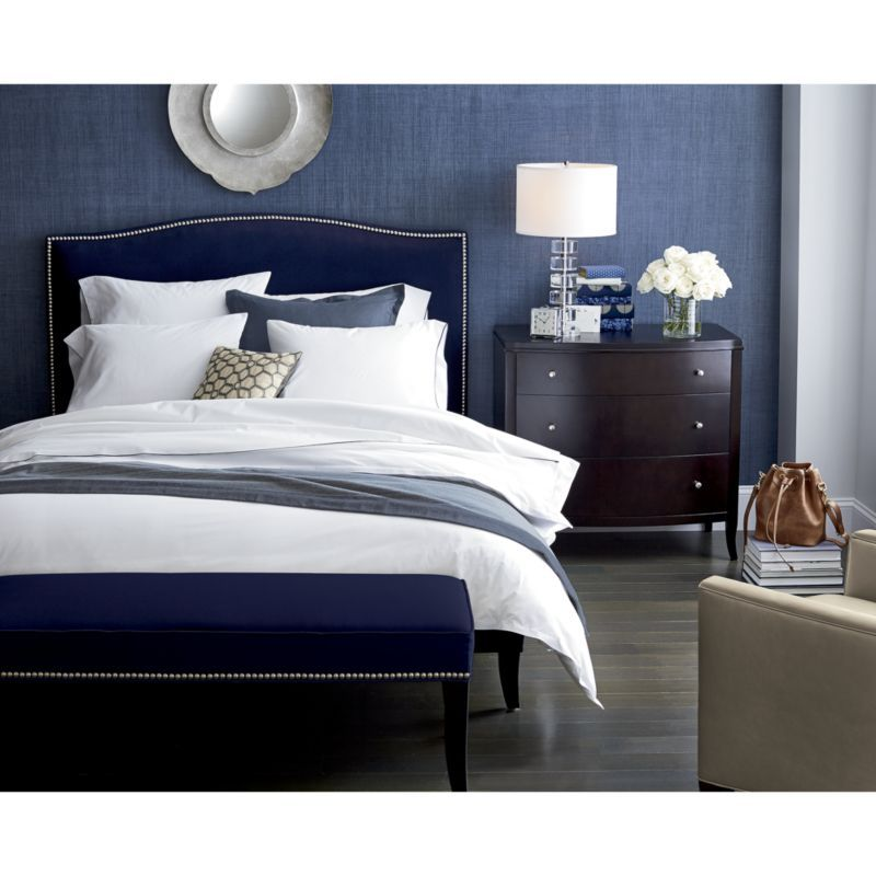 Belo Vintage Blue Full/Queen Duvet Cover - Crate and Barrel