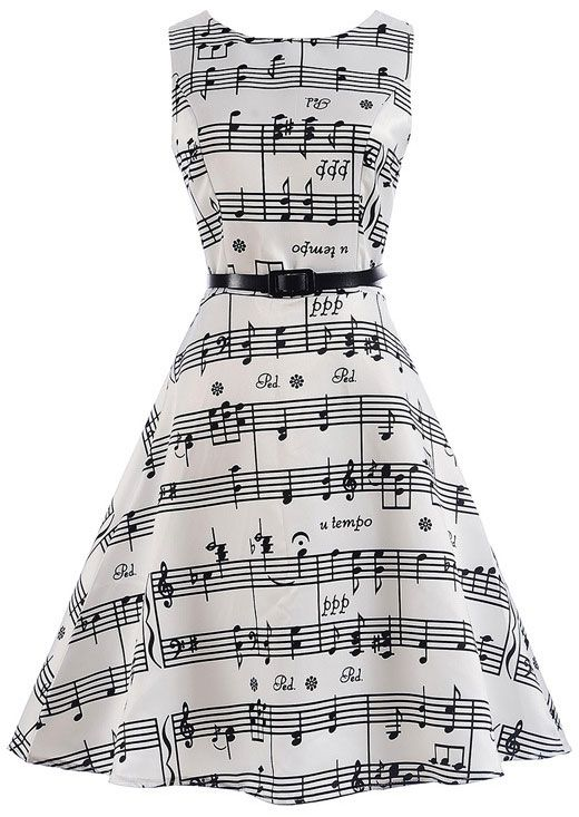 Musical Note ONeck Casual Dress Musical Note ONeck Casual Dress