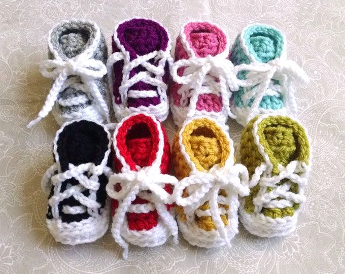 Baby Shoes / Crochet Trainer Style Baby Shoes / Crochet Baby Shoes ...