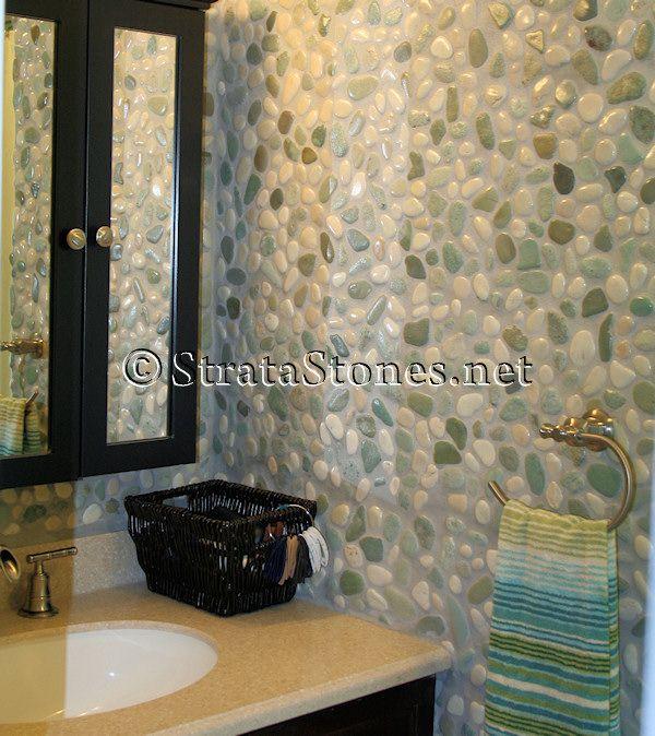 Bathroom Wall Tile   Green and White Pebble Tile Bathroom Wall ...