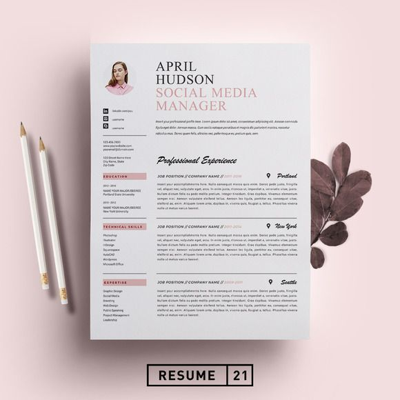 Social Media Resume Template / CV by Resume21 on @creativemarket