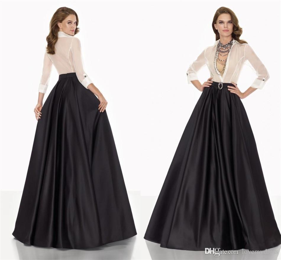 A Line Dresses Formal Evening Gown V Neck Long Sleeve Elegant Simple