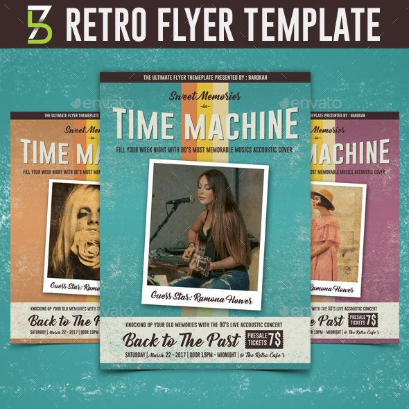 Retro Flyer Template  Flyer Template Template And Brochures