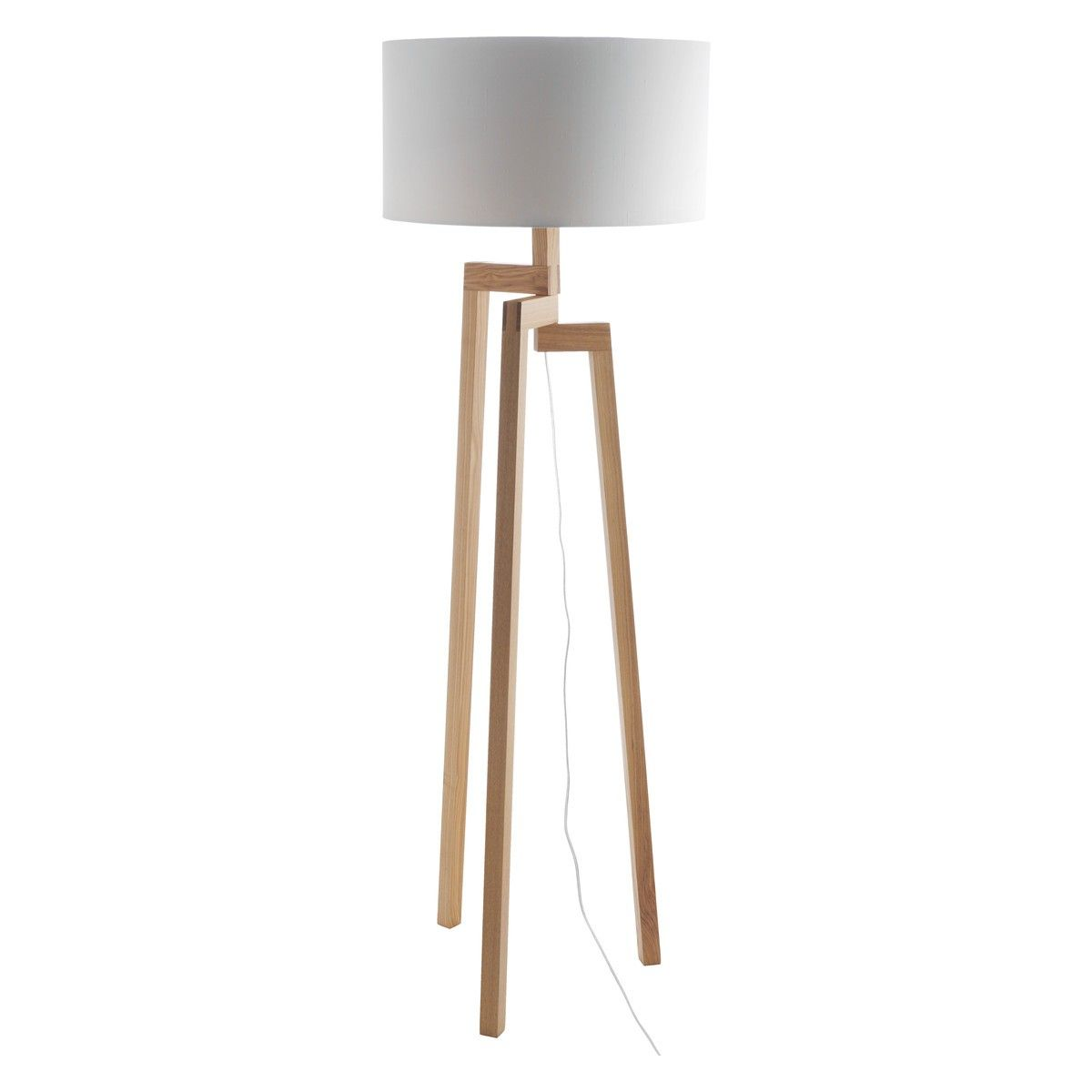 Dylan Wooden Floor Lamp With White Shade House