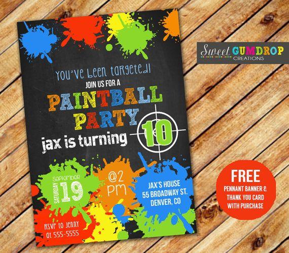 Paintball Birthday Invitation Printable Free Pennant Banner And Printable Birthday Invitations Paintball Birthday Party Free Printable Birthday Invitations