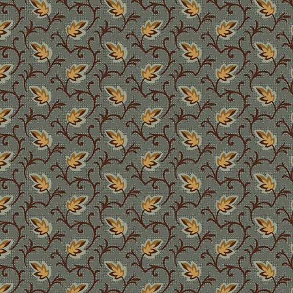 FAB1820-02, 8441-11, 1825-1865, Blue Leaves, Roswell Mill, Henry Glass, Reproduction Fabric