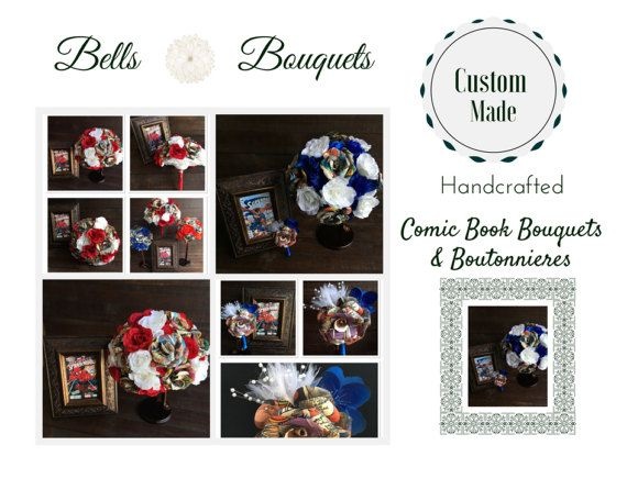 Unique Custom Made Comic Book Wedding Bouquets and Boutonnieres Each fun and unique comic book bouquet and boutonniere is made with DC or Marvel comic books, silk flowers, tulle sprays and silk ribbon. Ribbon and silk flower colors can be requested to accommodate for your specific theme:0)  A variety of comic books are used, however some of the more popular comics used:  *Batman *Superman *Spiderman *Iron Man *Captain America *Incredible Hulk *X-men *Justice League *Fantastic Four *The…