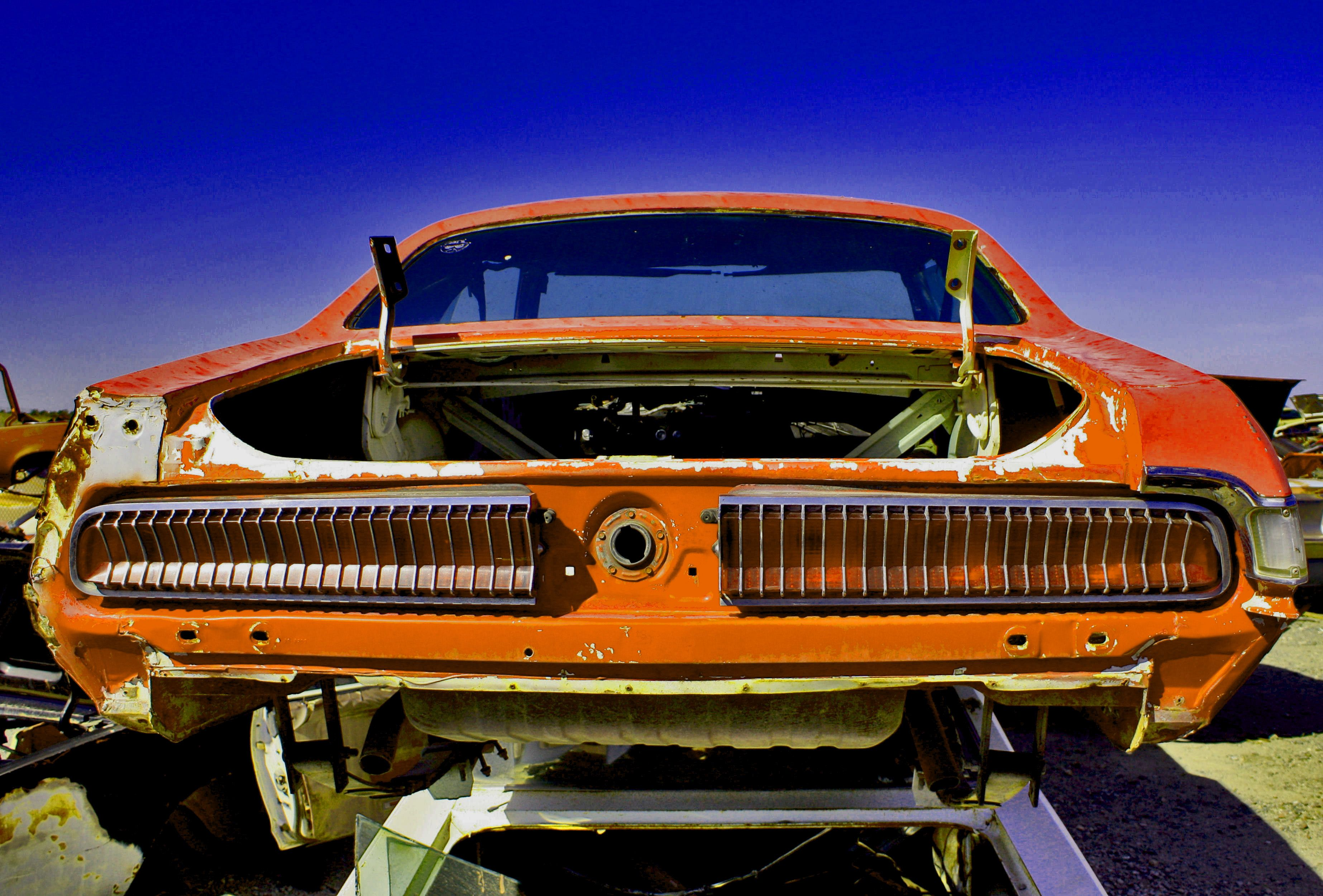 Mercury Cougar carcass at Desert Valley Auto Parts salvage