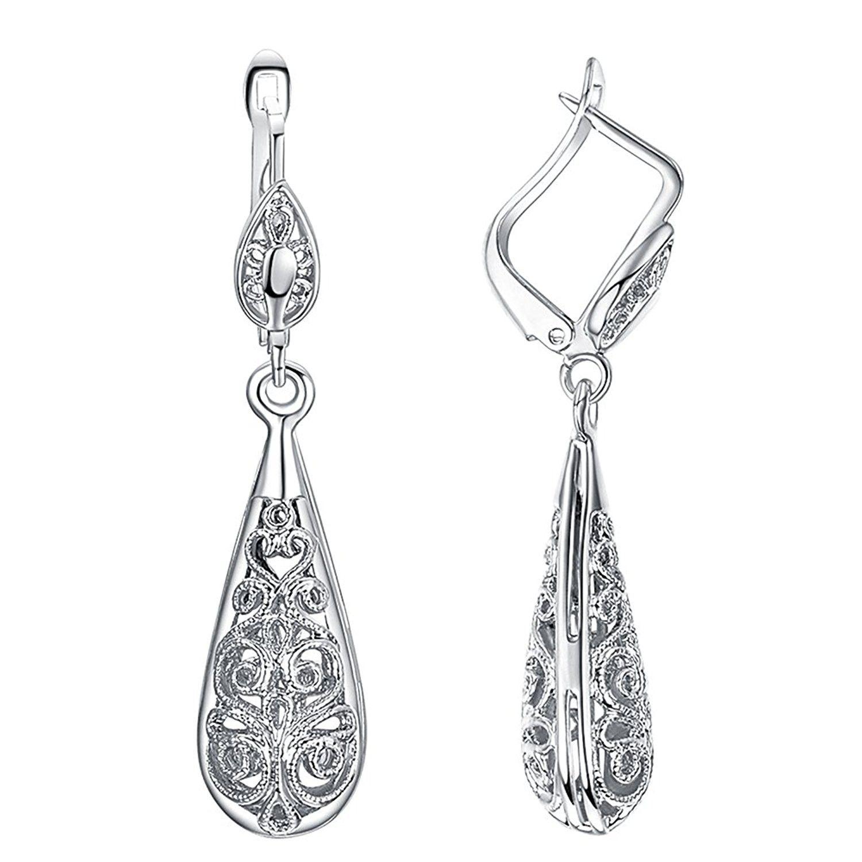 Diamond Teardrop Style Drop Earrings 1 1 2 ct t w in 1