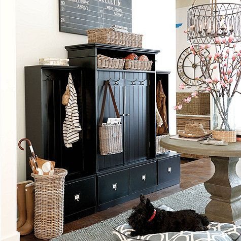Beadboard Entryway Cabinet with Doors | Entry cabinet ...