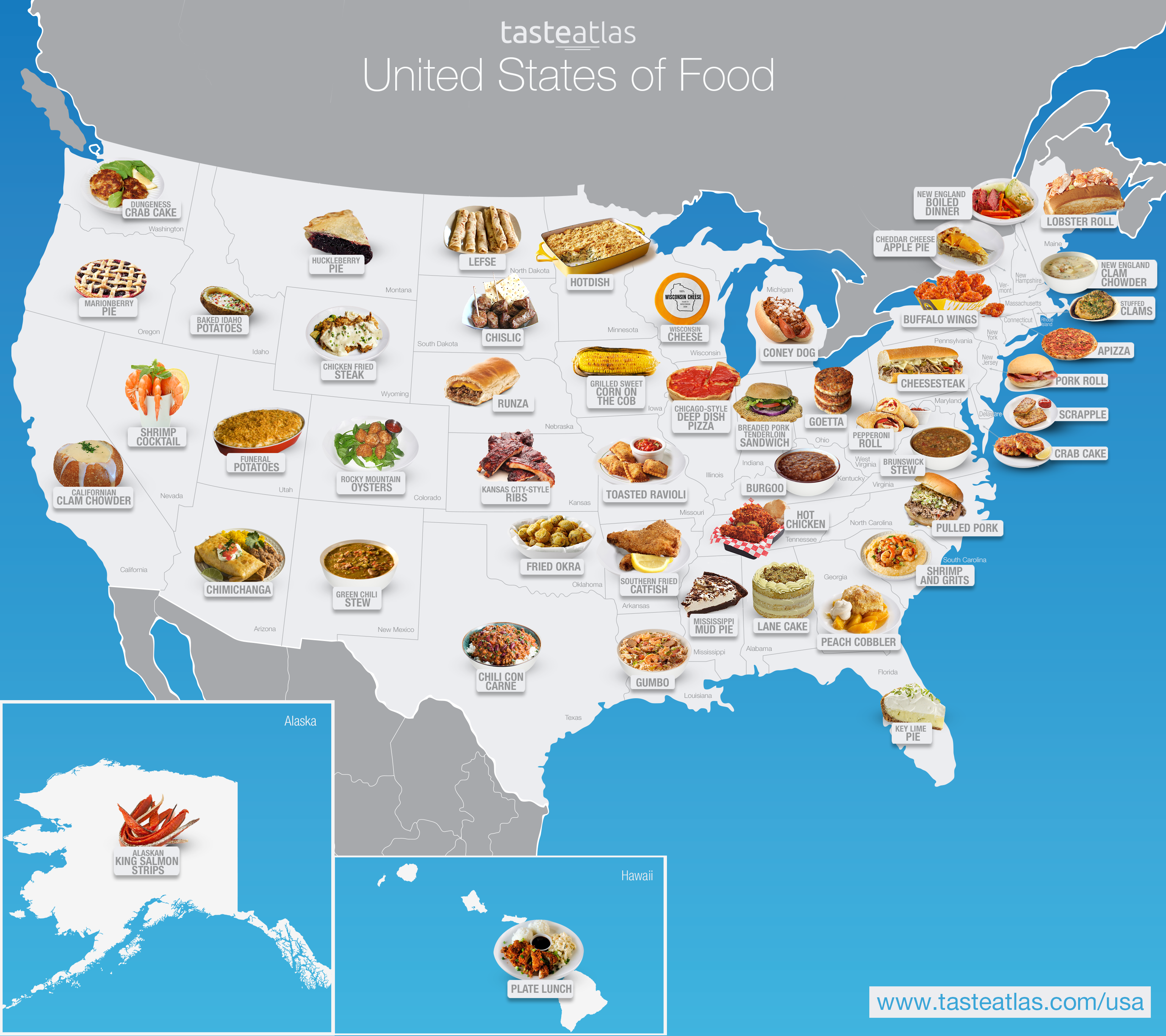 View Map Of United States.Taste The Atlas United States Of America 673 Traditional Dishes
