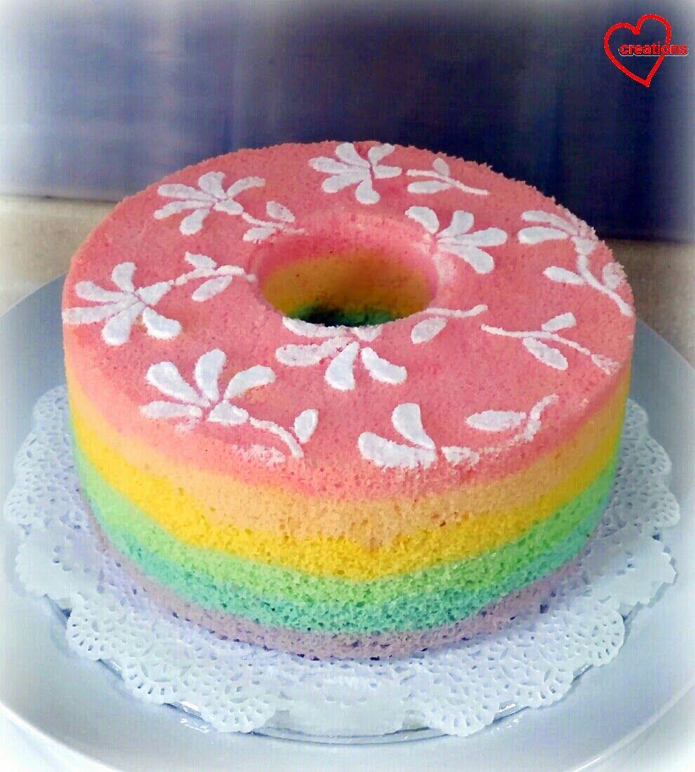 Loving Creations For You Rainbow Chiffon Cake With Semi Painted Flowers Chiffon Cake Cake Cupcake Cakes