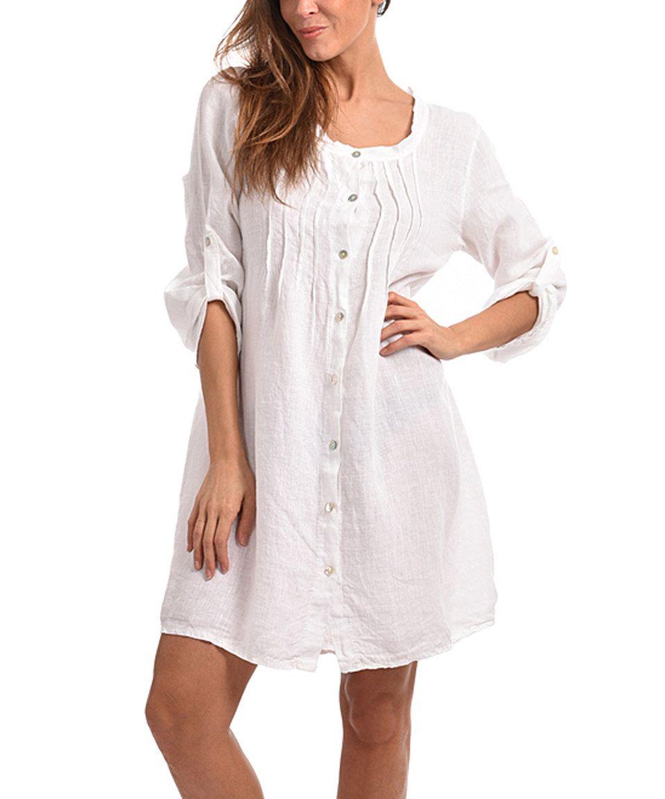 Couleur Lin White Carmen Linen Button-Up Dress - Plus Too by ...