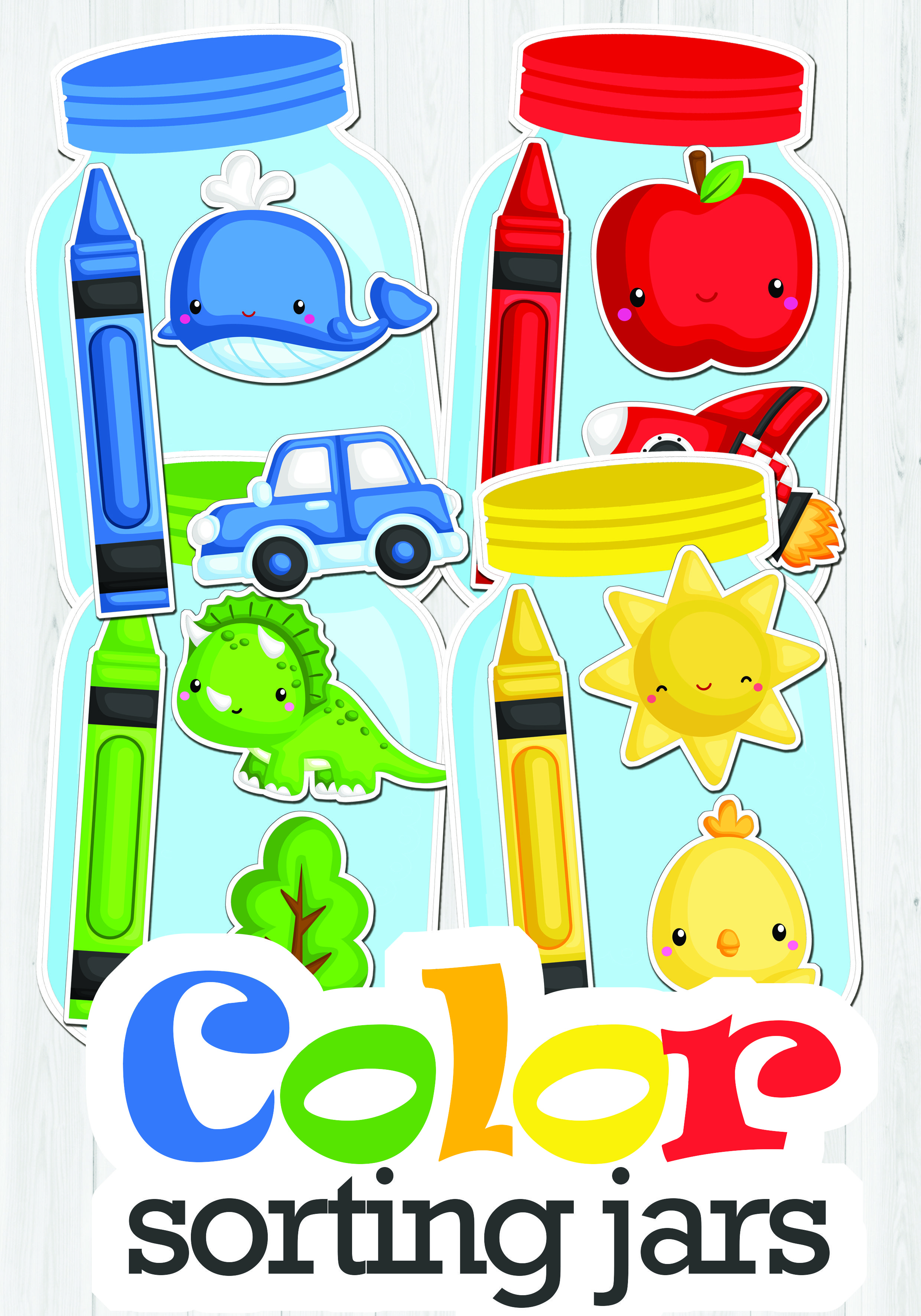 Color Sorting Jars Color Matching Activity Learning Colors