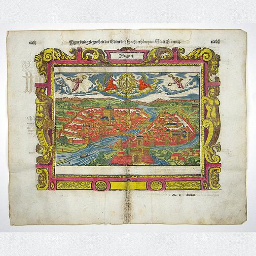 historische holzschnittansicht aus der cosmographia von sebastian munster in attraktiver koloration eine ansicht stadt flore holzschnitt graphik kunst moderne fotografie acrylbilder