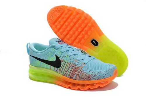 huge selection of 3b06e 22310 Nike Flyknit Air Max Womens Shoes Light Blue Green Orange ...