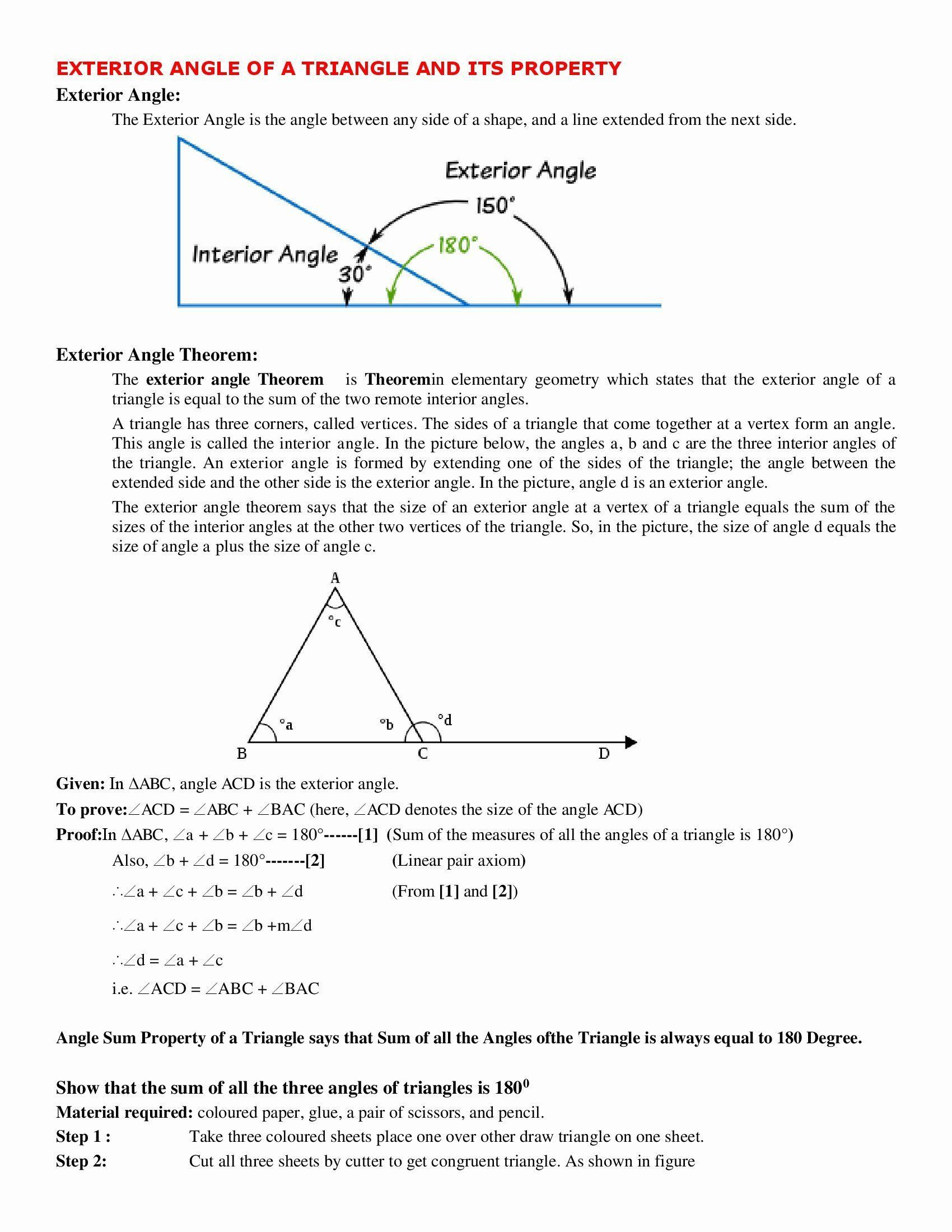 Triangle Inequality Theorem Worksheet 50 Exterior Angle