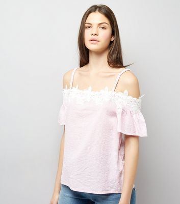 Pink Seersucker Stripe Lace Trim Cold Shoulder Top