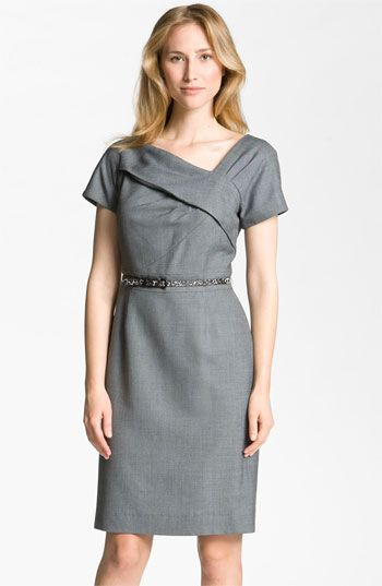 aee27a78863a Tahari by Arthur S. Levine Asymmetrical Neckline Belted Sheath Dress  available at #Nordstrom