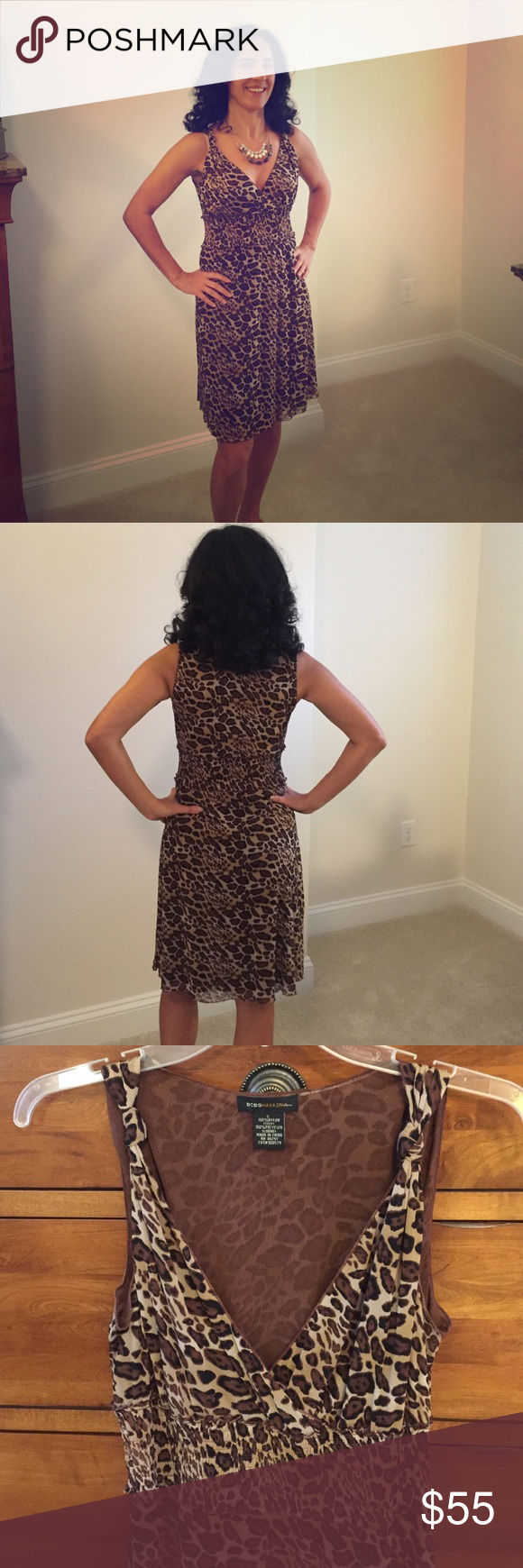 BCBG Max Azria leopard print dress BCBG Max Azria leopard print dress. Lined. Flattering neckline and has nice stretch on top part for all different sizes. Waist area has nice detail of cinching that flatters the figure.  Hits above the knee.  I am 5 '6 and typically wear either a 2 or 4 in most brands. Only worn 2 times. BCBGMaxAzria Dresses