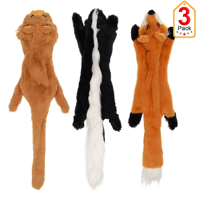 Vitscan Stuffless Dog Toys Durable Stuffingless Dog Plush Squeaky