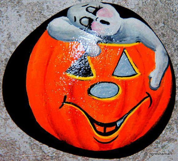 Ghost napping in Pumpkin handpainted rock,halloween treat decor