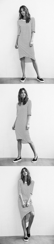 Scoop Hem Dress in black/white stripe
