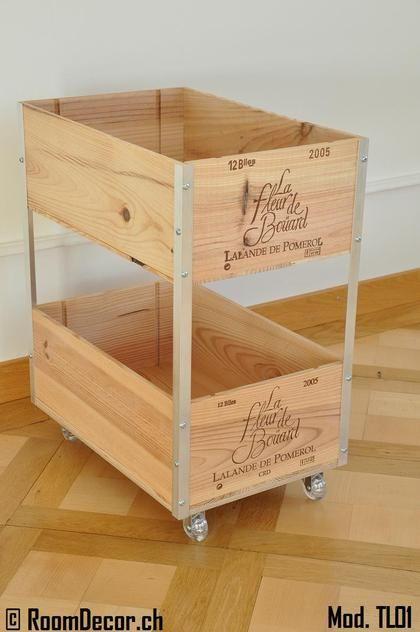 Trolley aus Weinkisten | Ideen für Möbel mit Weinkisten | Weinkisten DIY | Obstkisten | Regal selber machen