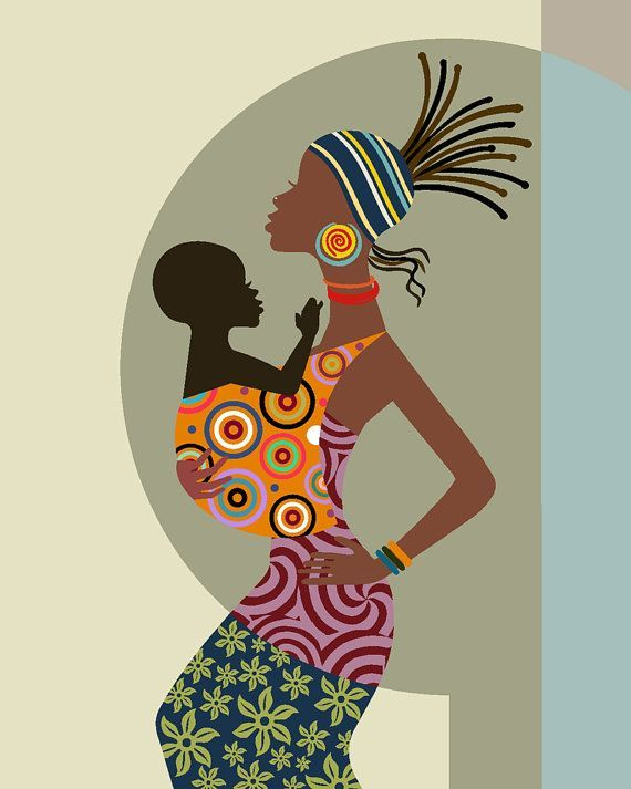 Mother and Child Art Mother and Child Painting Mothers by iQstudio #afrikanischefrauen