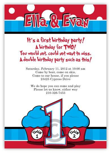 Dr Seuss Thing 1 2 Birthday Invitations Twin